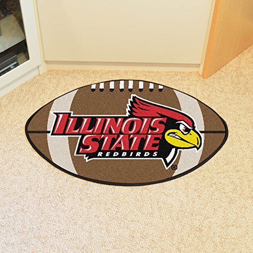 Football Rug w Illinois State Officially Licensed Redbird Logo in Team Colors