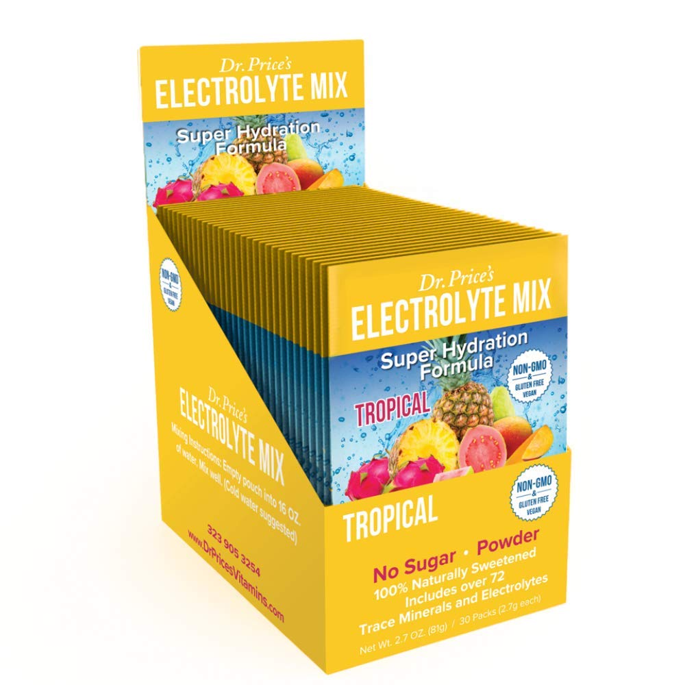 Electrolyte Mix Super Hydration Formula + Trace Minerals | New! Tropical Flavor (30 Powder Packets) Sports Drink Mix | Dr. Price's Vitamins | No Sugar, Non-GMO, Gluten Free & Vegan by Dr. Price's Vitamins