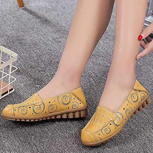 Fangsto Womens Leather Floral Loafers Flats Shoes Slip-Ons Sty-3 Yellow XNLhpRfb