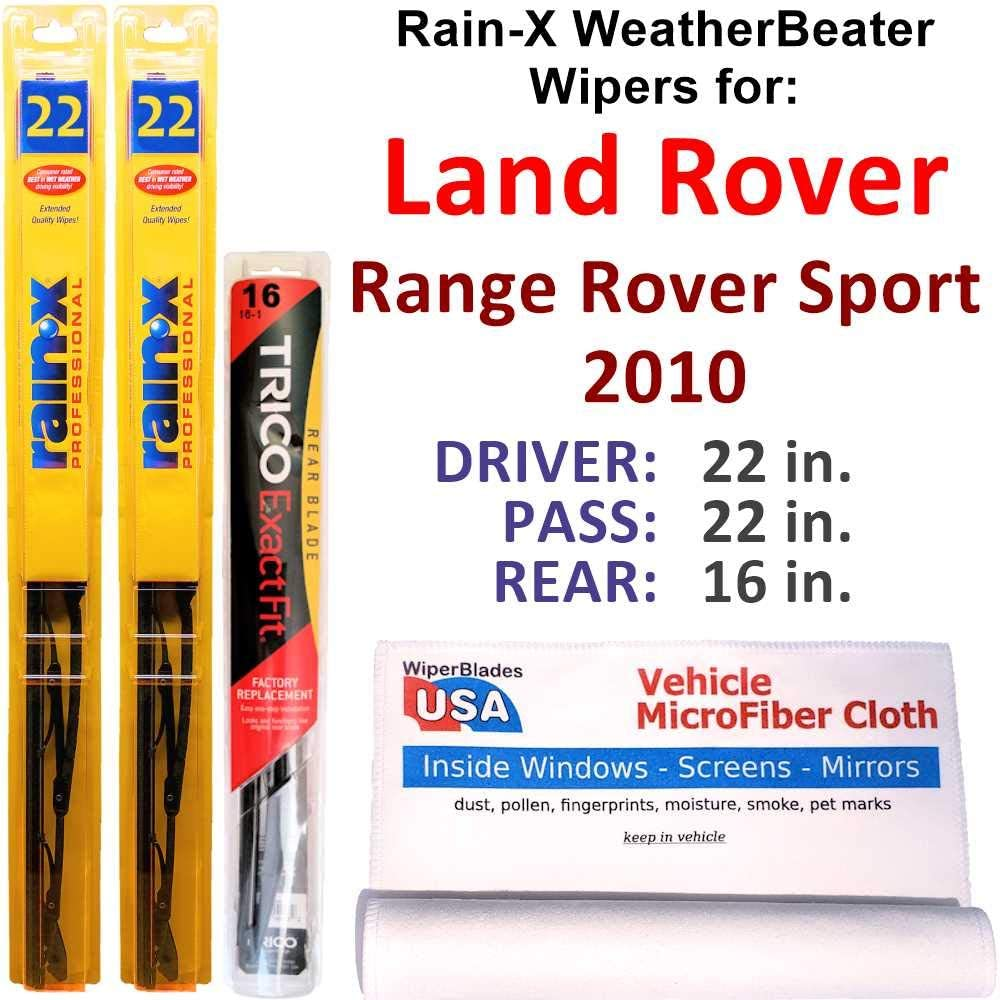 Rain-X WeatherBeater Wipers for 2010 Land Rover Range Rover Sport Set w/Rear Rain-X WeatherBeater Conventional Blades Wipers Set Bundled with MicroFiber Interior Car Cloth