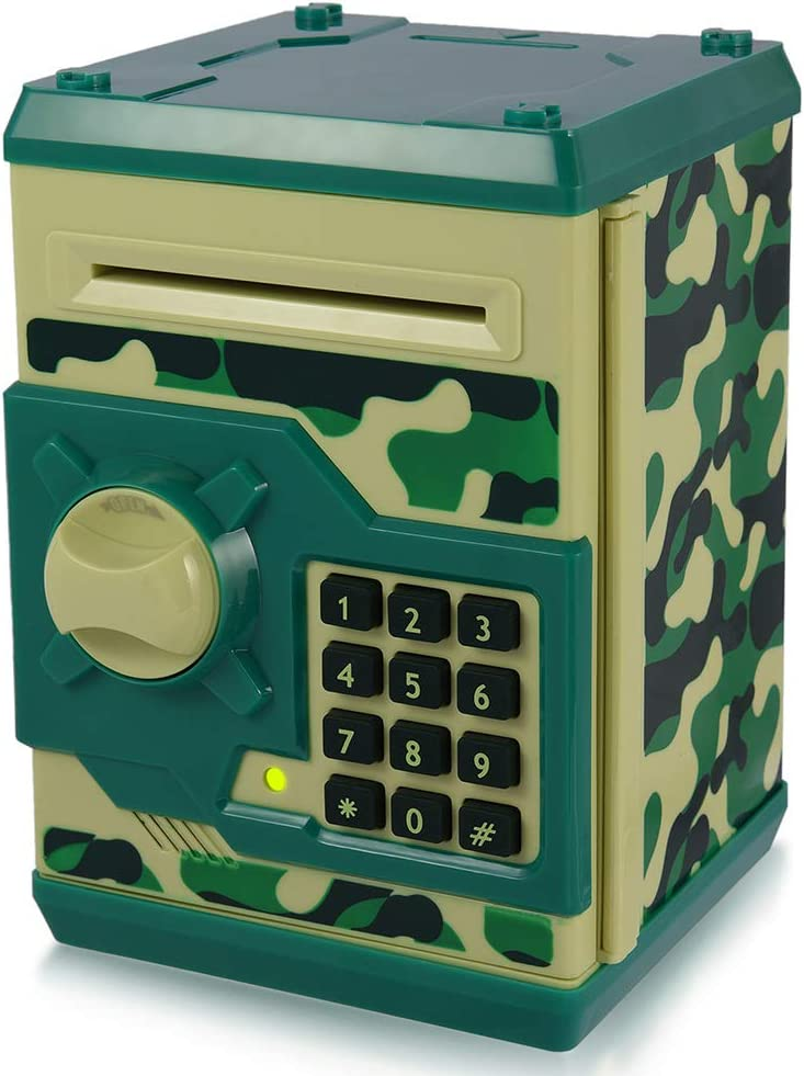 Yoego Kids Money Bank, Electronic Piggy Banks, Great Gift Toy for Kids Children, Auto Scroll Paper Money Saving Box Password Coin Bank,Perfect Toy Gifts for Boys Girls (Green Camo)