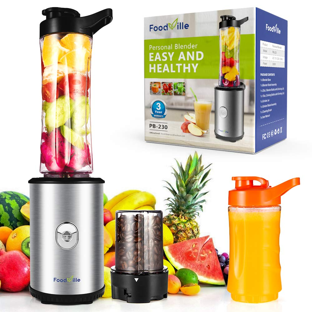 Foodville PB230 2 in 1 Personal Smoothie Blender and Electric Coffee Grinder with 20oz + 10oz Travel Bottles, 2 Drinking Lids and Grinder Jar by FoodVille