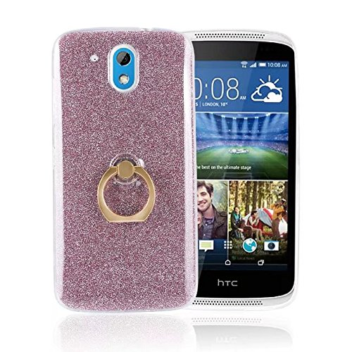 HTC Desire 526 Case,Ultra-thin 360 Degree Rotating Ring Holder Kickstand Case Flexible Soft Gel TPU Bling Glitter Sparkle Back Cover for HTC Desire 526