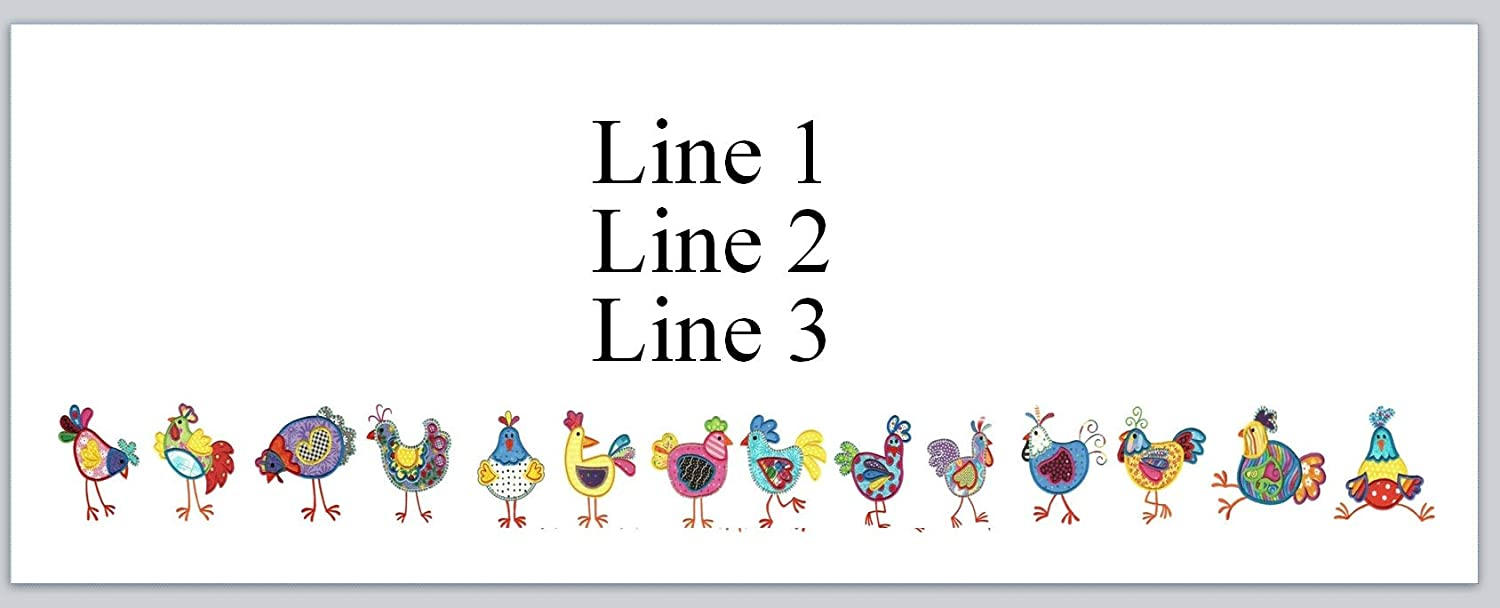 jx 104 150 Personalized Return Address Labels Primitive Country Farm Cartoon Row of Chickens Hen