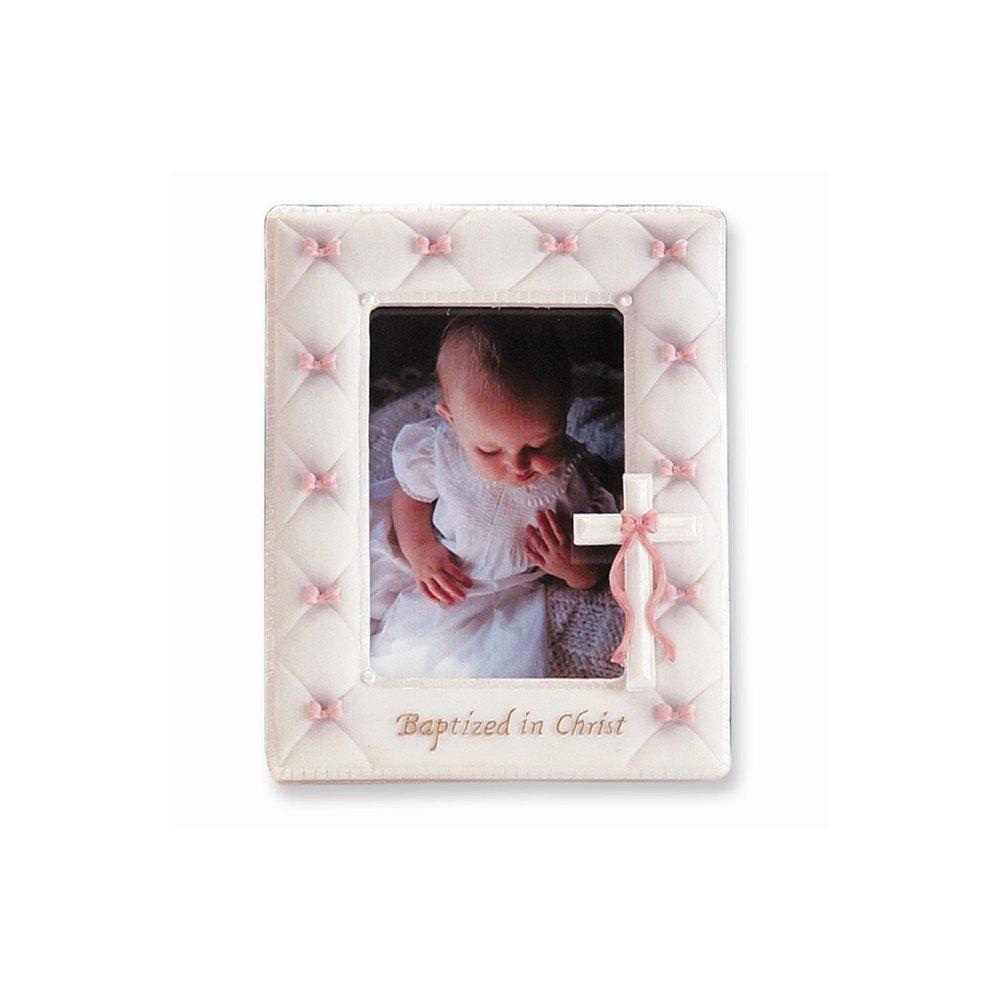 "7"" Baptism Frame for 3.5""x5"" Photo (Girl - Pink)"
