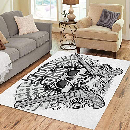 Semtomn Area Rug 3' X 5' Pirate Gothic of Arms Skull and Guns Vintage Angel Home Decor Collection Floor Rugs Carpet for Living Room Bedroom Dining Room ()