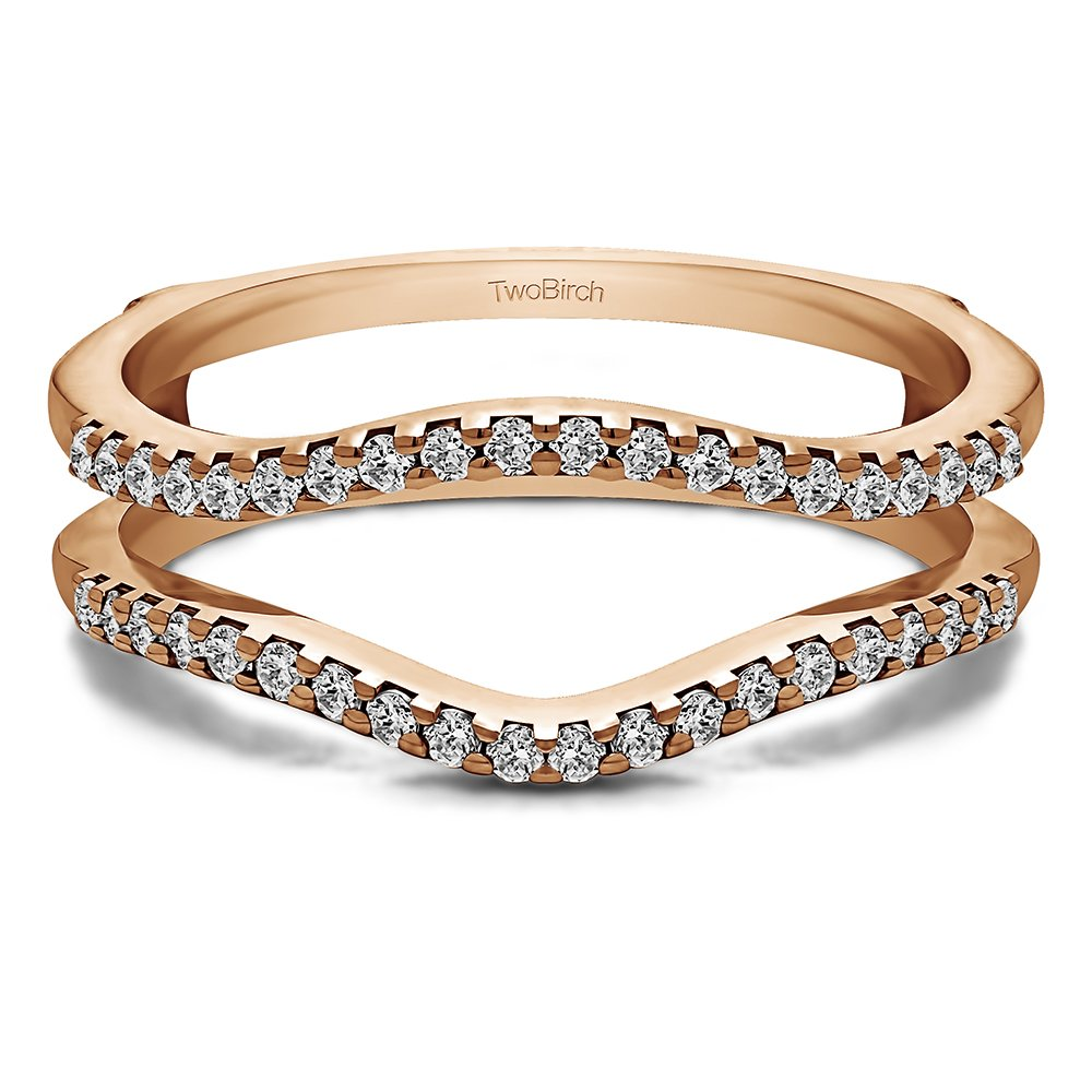 TwoBirch 0.3 ct. Cubic Zirconia Double Shared Prong Contour Ring Guard in Rose Gold Plated Sterling Silver (1/3 ct. twt.)