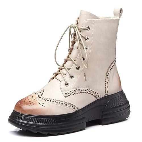 ANNIESHOE Botas Mujer Cuero Cordones de Vestir Brogue Botines Tacon Plataforma Zapatos Otoño Invierno: Amazon.es: Zapatos y complementos