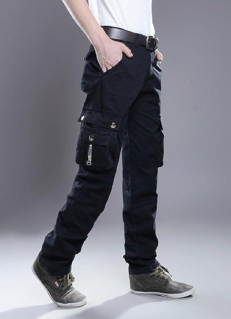 YUNY Mens Multi-Pocket Work Wear Long Straight Comfortable Cargo Pants Black 30