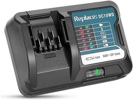 Cargador de litio 10,8 V 12 V 3 A con conector USB de repuesto compatible con baterías DC10WD, DC10SB, DC10WC, BL1015, BL1016, BL1021B, BL1041B