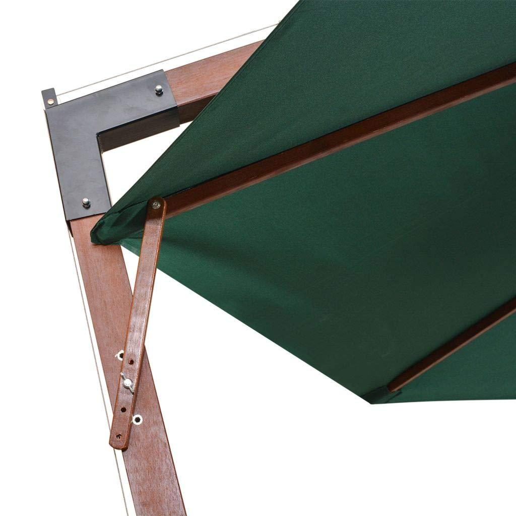 Parasol Deporte Parasol Plage Anti UV Vert avec Poteau en Bois 350 cm Parasol Plage Pliable Tidyard Parasol Balcon