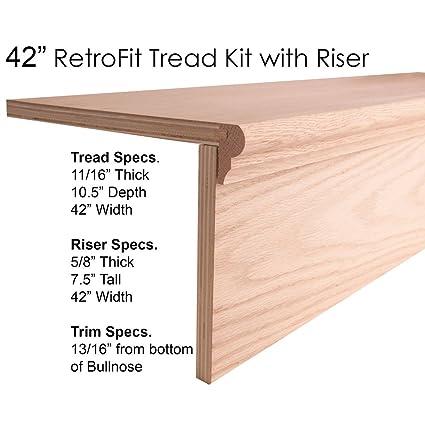 42u0026quot; RetroFit Tread Kit With Riser Remove Carpet Add Hardwood For Stair  Remodel