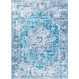 bohemian living room Decomall Traditional Vintage Bohemian Distressed Abstract Area Rug for Living Room Bedroom, Turquoise, 5'x7'