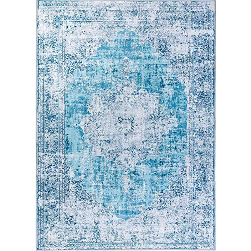 DECOMALL Traditional Vintage Bohemian Distressed Abstract Area Rug for Living Room Bedroom, Turquoise, 5'x7'