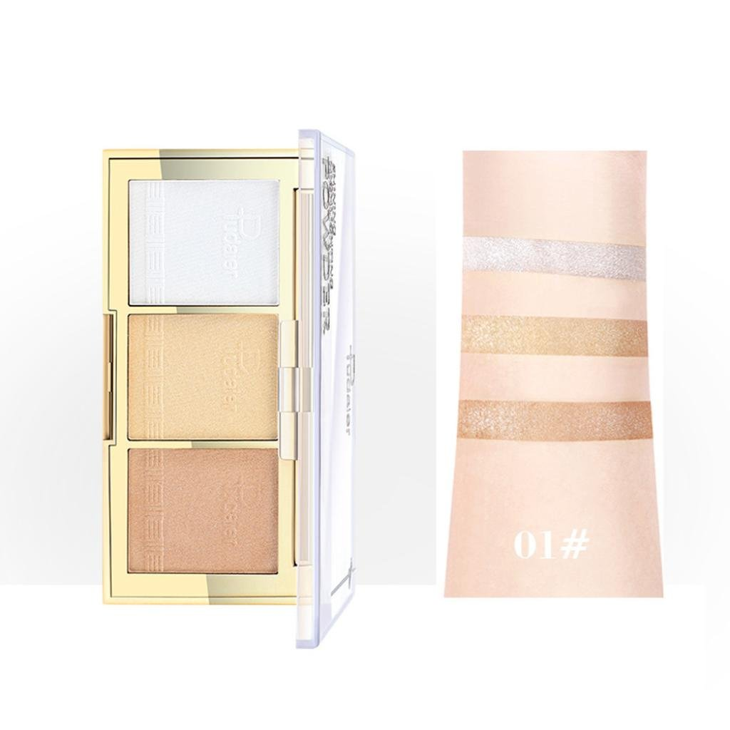 Esharing New Professional Makeup Face Powder 3 Colors Highlighter Powder Palette Beauty Makeup Cosmetics (Style A)