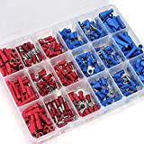 FENICAL Insulated Crimp Terminals 360pcs Butt Spade Ring Fork Assorted Electrical Wire Connectors (Red Blue)