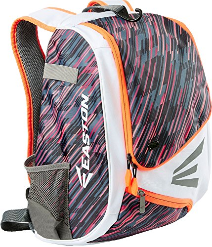 Easton E110YBP Youth Fastpitch Equipment Backpack (White/Orange Red) (Fastpitch Backpack)