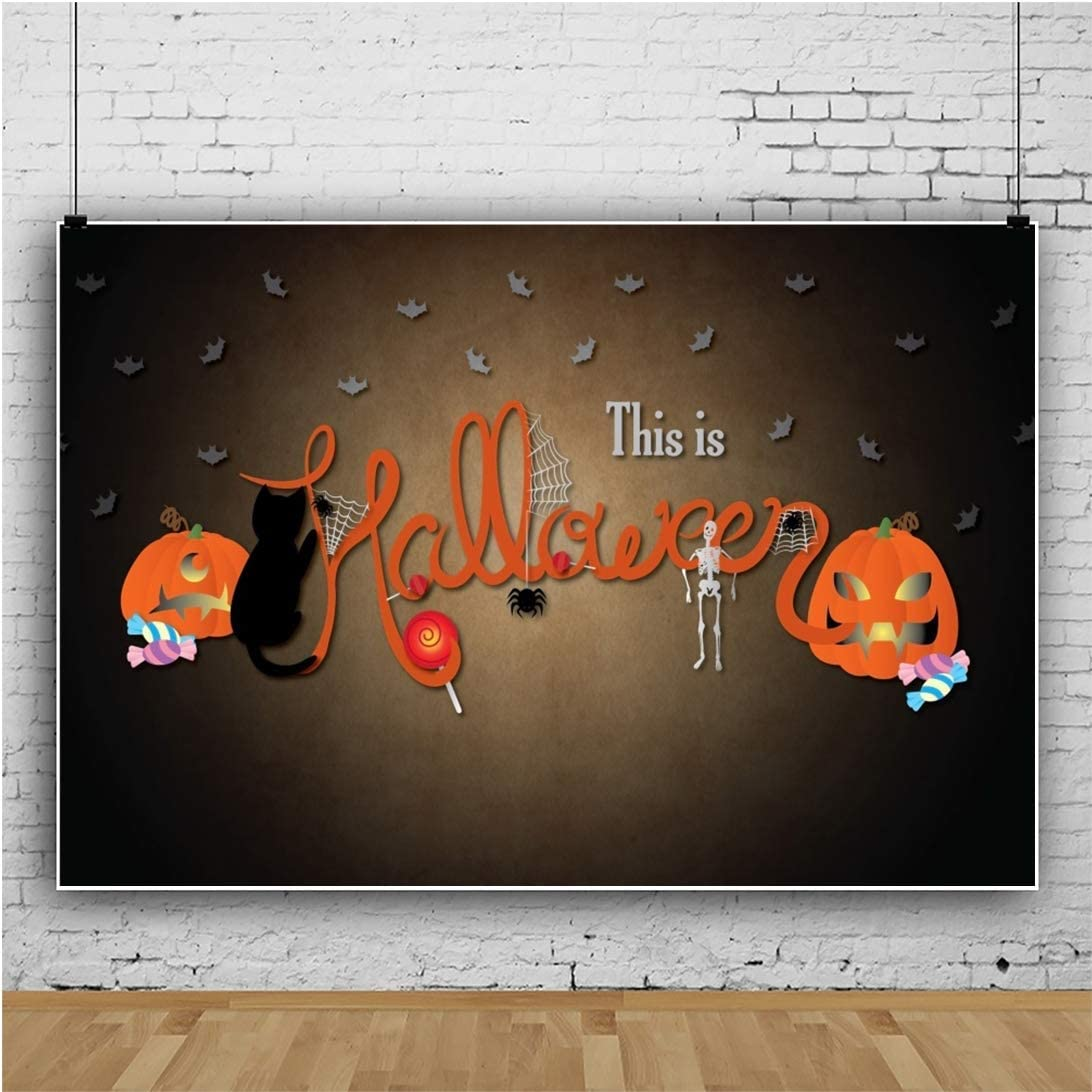 This is Halloween Background 10x6.5ft Costume Party Polyester Photography Backdrop Trick or Treat Grimace Pumpkin Zombie Spider Web Cat Bat Candy Hallowmas Holiday Autumn Portrait Shoot Banner
