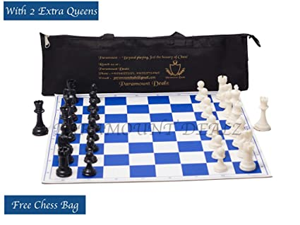 Paramount 17x 17 Professional Vinyl Chess Set (Fide Standards)- with 2 Extra Queens/Chess Bag, Blue