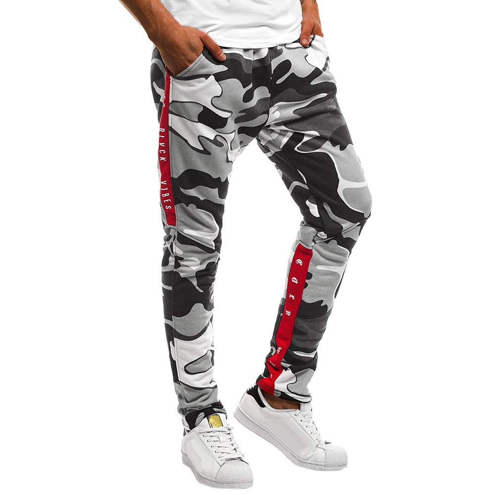 Men Camouflage Pocket Overalls Casual Pocket Sport Work Casual Trouser Pants,PASATO Clearance Sale(Black, XXL)