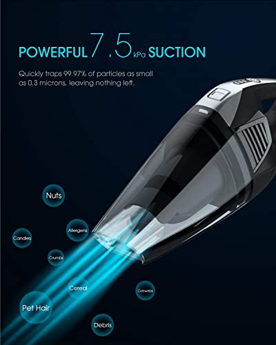 NOVETE Handheld Vacuum Cleaner, Hand Vacuum Cordless with Detachable Battery Replaceable , 7.5kPa Suction, Exquisite Matte Black Coating, Rechargeable 14.8V Li-ion Battery, Wet Dry Use for Home Car