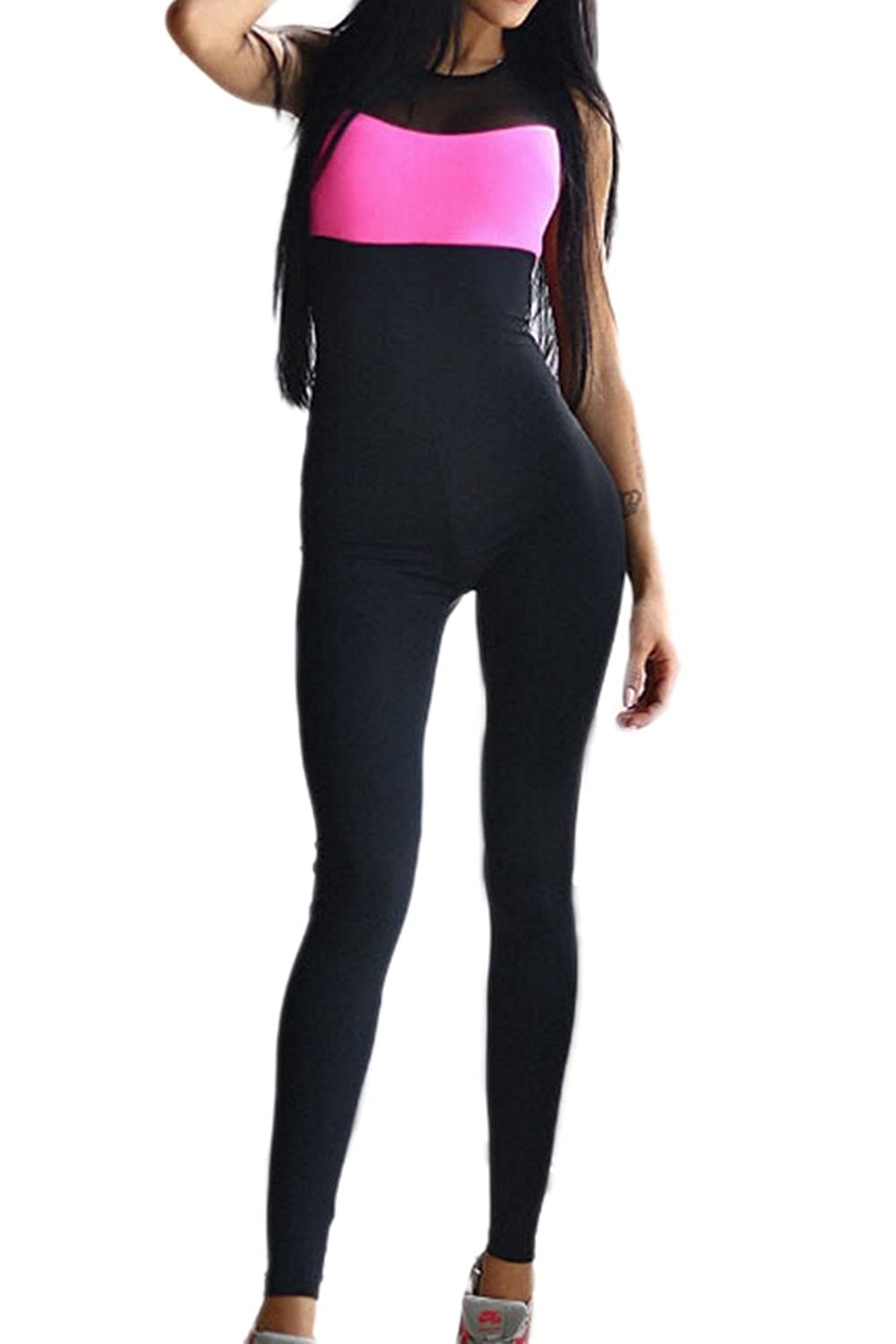 Women's Strapless Backless Bodycon Yoga Sports Jumpsuits Rompers CATNXXONY13