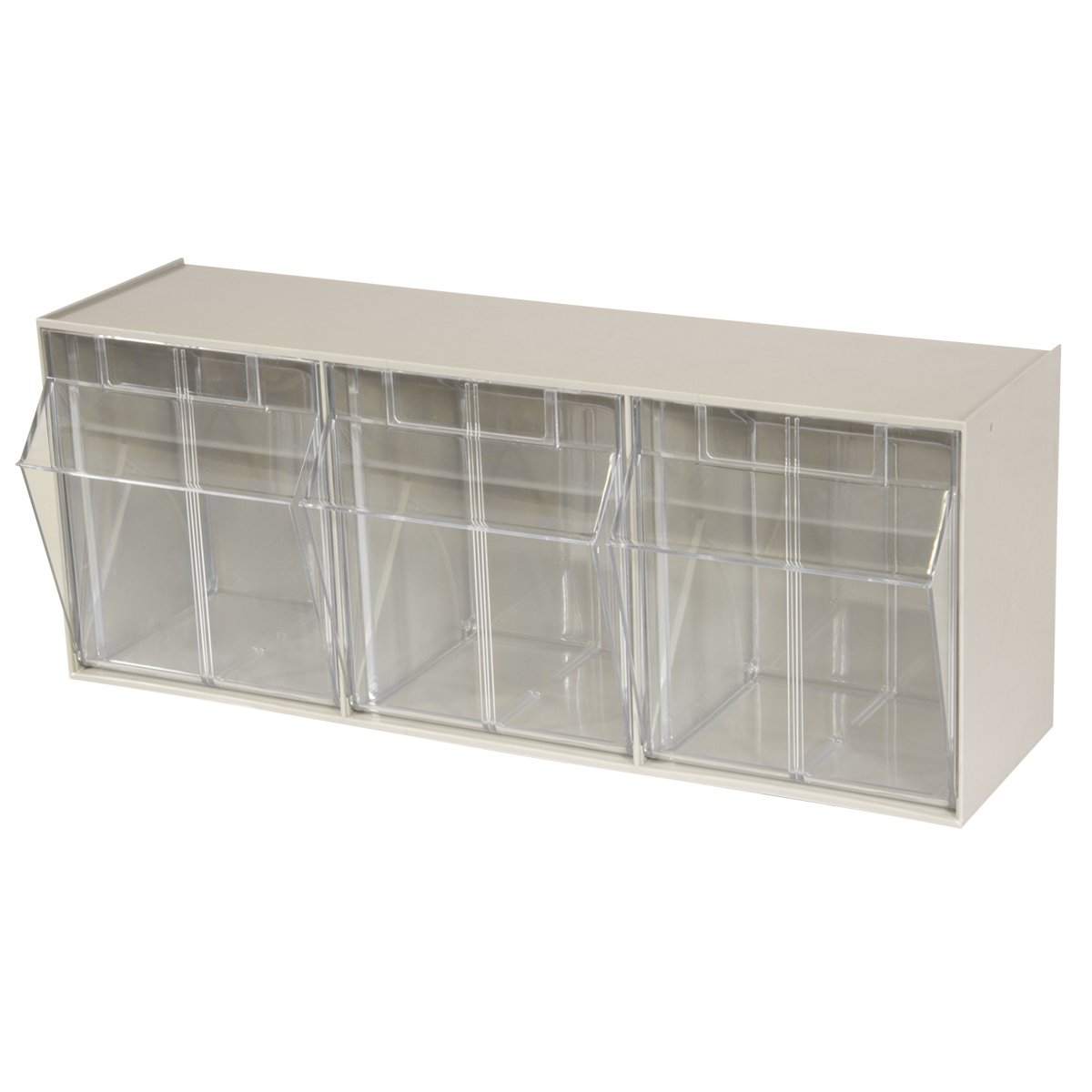 Akro-Mils 06703 TiltView Horizontal Plastic Storage System with Three Tilt Out Bins 23-5//8-Inch Wide by 9-7//16-Inch High by 7-7//8-Inch Deep Stone