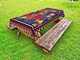 Lunarable Mexican Outdoor Tablecloth, Aztec Culture Pattern Ethnic Colorful Mythology Artwork Ancient Snake, Decorative Washable Picnic Table Cloth, 58 X 120 Inches, Indigo Mustard Orange