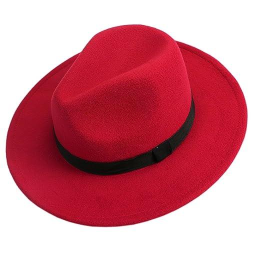 ebbcce48da0e1 LING'S SHOP Vintage Men Women Jazz Bowknot Hard Felt Fedora Bowler Panama  Wide Hat Brim Gangster Cap