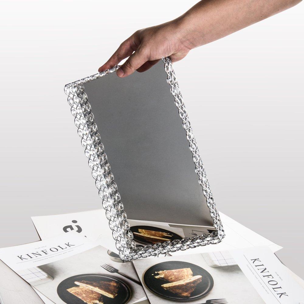 Feyarl - Bandeja de cristal rectangular con espejo para cosméticos, joyería, organizador, bandeja decorativa para decoración de boda y hogar: Amazon.es: ...