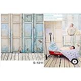Laeacco 3x5ft Thin Vinyl Photography Backdrops Retro Door Design Wooden Floor Theme Baby Newborn Birthday Photo Backgrounds Studio Props 1x1.5meter