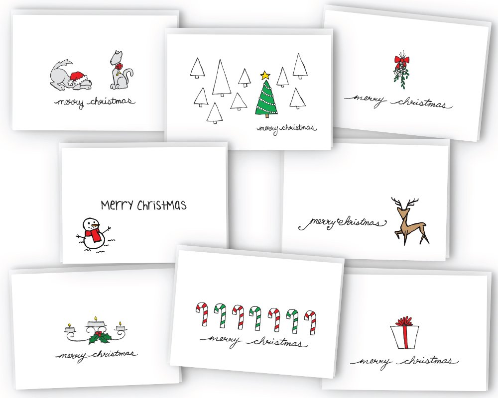 Amazon.com : Merry Christmas Greeting Cards Collection - 24 Cards ...