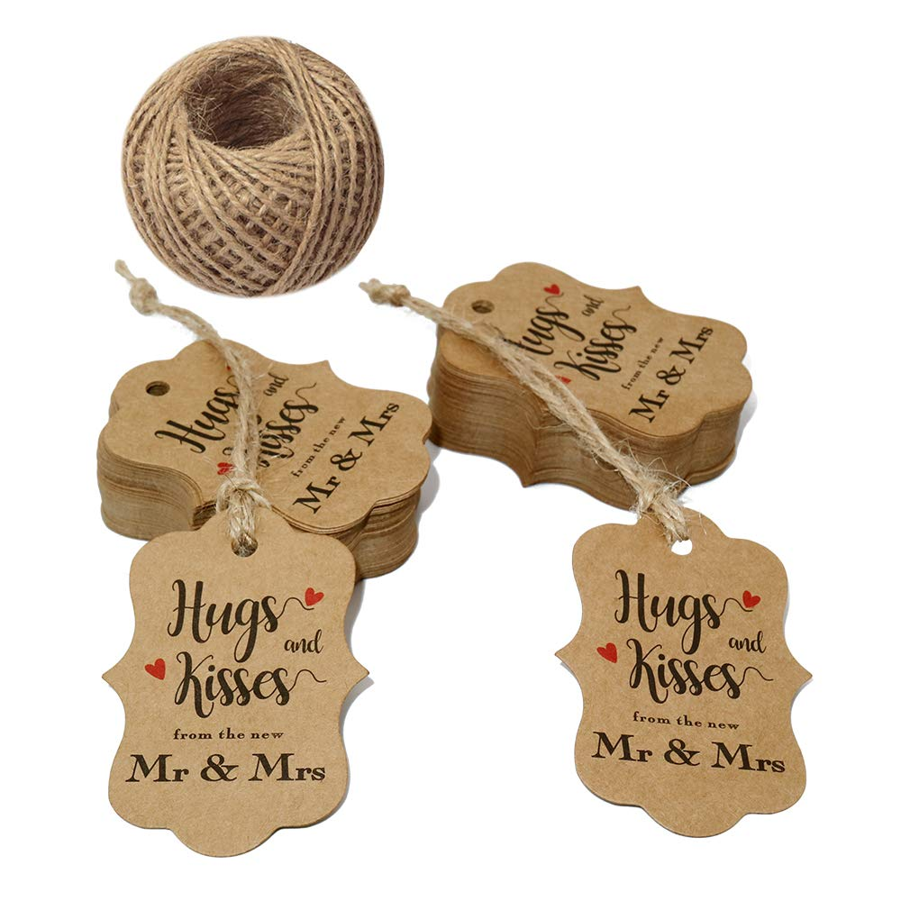 Original Design 100 PCS Wedding Gift Tags,Hugs and Kisses from The New Mr & Mrs Kraft Paper Tags,2.8'' x 2''Brown Tags with 100 Feet Jute Twine by jijAcraft