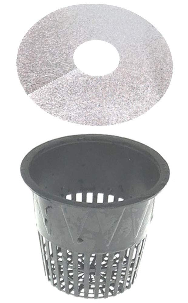 3.75 Inch Net Cup Pack of 24, Heavy Duty Plastic Mesh Pot 4 in Wide Lip Top w Free Reflective Net Pot Lids to use in Hydroponic Aeroponc and Aquaponic Systems 24 Set