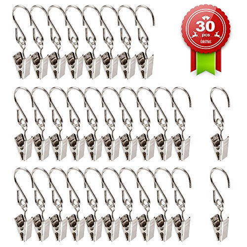Teenitor Gutter Hangers For Lights, Stainless Steel Party Light Hanger Multifunction Outdoor Activities Wire Holder for String Party Lights, Set of 30 (Lights Gutter Christmas Clips)