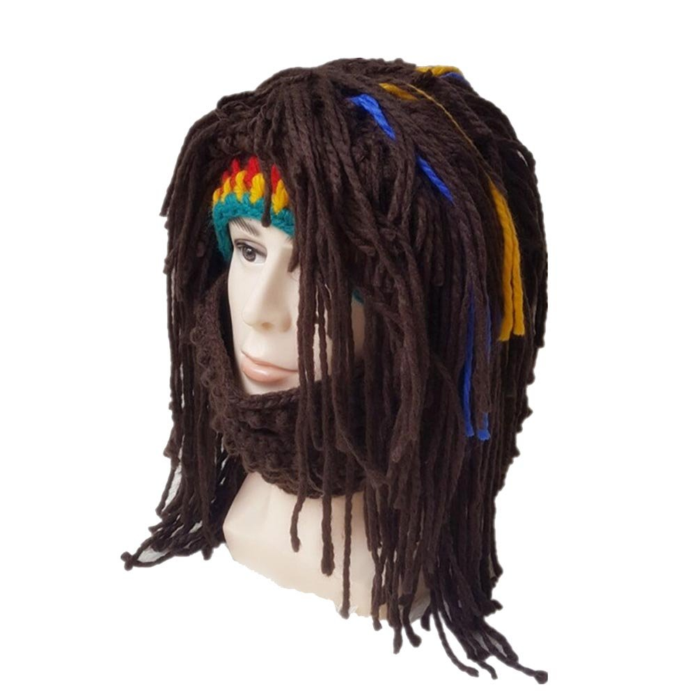 BIBITIME Creative Jamaican Knit Cap Dreadlocks Wig Beanie Crochet Hat with Mask One Size)
