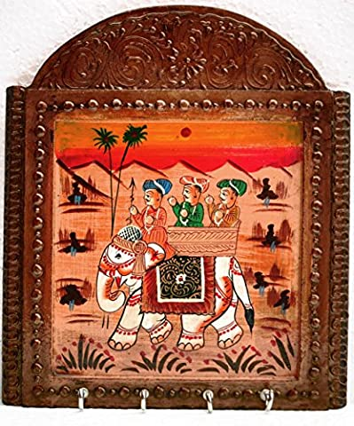 Key hook holder with four hooks with traditional procession painting on wood, A prince going for hunting sitting on elephant, Decorative, Eleganta and antique look key - Prince Hand Painted Wall Hanging