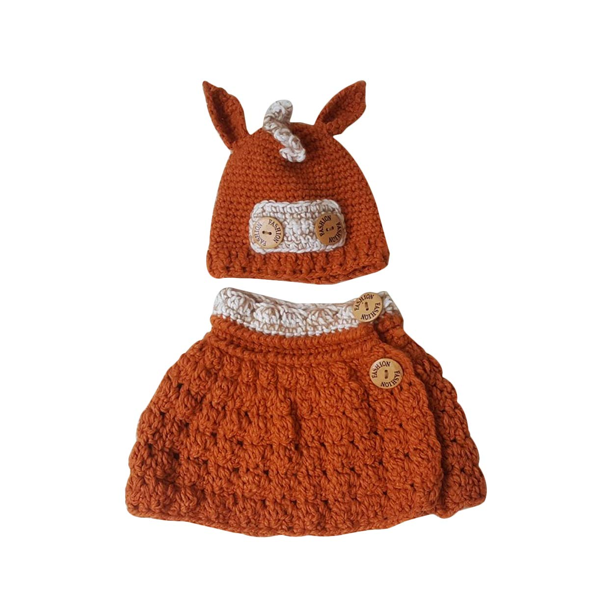 BESTOYARD Cute Donkey Horse Scarf Hat Set Animals Caps Neck Warmer Wrap Wool Knitted Beanie Scarves for Children Kids (Orange)