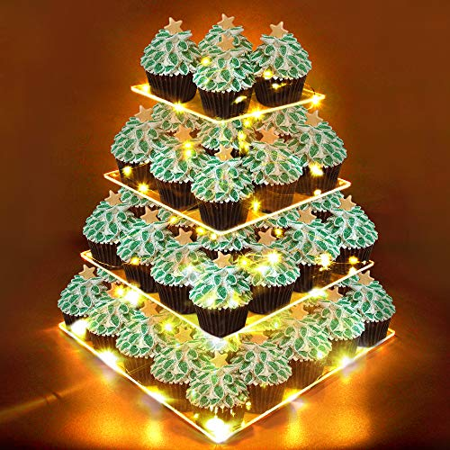 ZNCMRR 4 Tier Square Acrylic Cupcake Display Stand Holder Towers with LED String Light Pastry Dessert Serving Platter for Birthday or Wedding Party]()