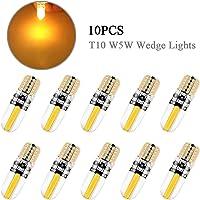 KaiDengZhe 10Pcs 194 LED Light Bulb,Super Bright Amber 6500K T10 W5W 168 COB LED Bulbs CANBUS Error Free Wedge Side…