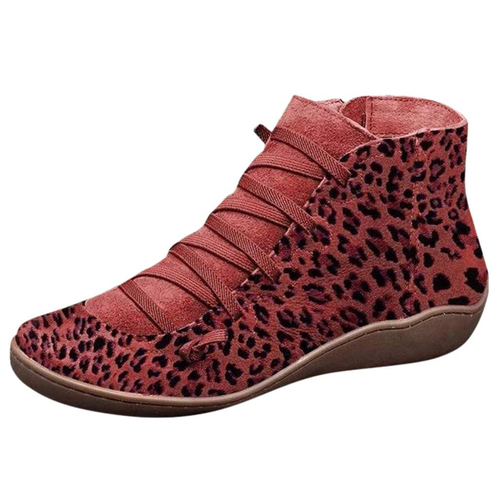 Ankle Boots for Women No Heel,2019 New Arch Support Booties Side Zip-up Vintage Leather Damping Shoes Flat Heel Booties
