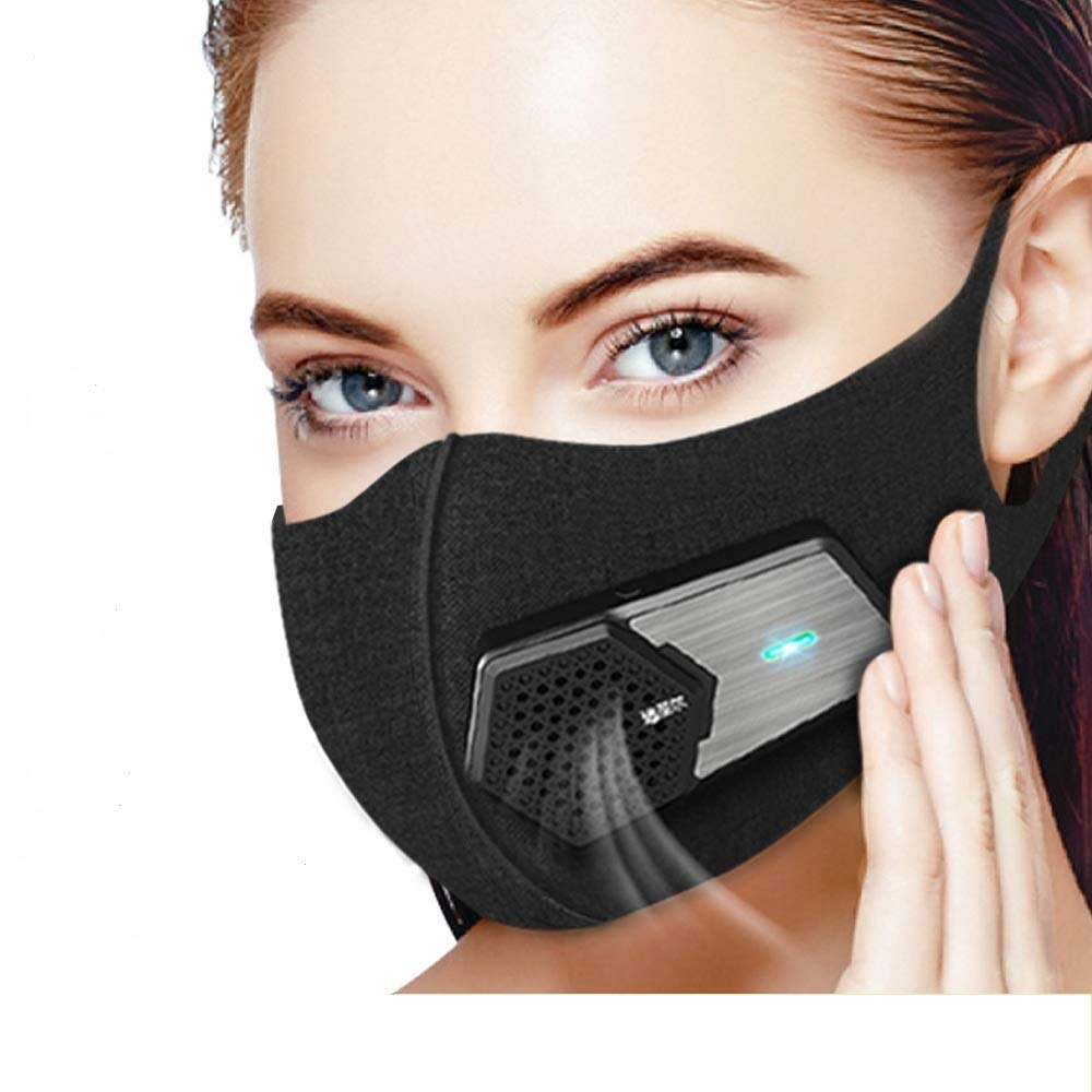 Half Face Mouth Mask with Valve Filter,Electric Respirator for Air Purifying, Dust proof Masks Washable For Gardening, Travel, Sports Resist Dusts,Germs,Allergies,PM2.5,Pollution,Ash,Pollen (Black)