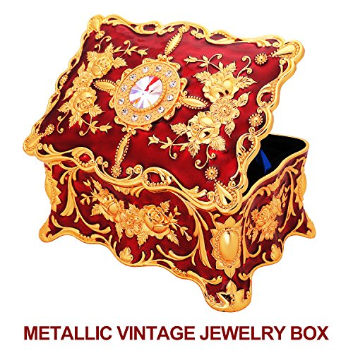Rectangular Metallic Jewelry Box for Women, Girls; Vintage Jewelry Organizer Storage Box with Ornate Antique Finish, Two-Layer Design (Red) (Box Jewellery Big)