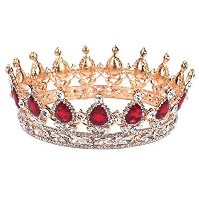 diadme princesse baroque couronne strass rouge mariage luxueuse parure nuptiale accessoires cheveux pour marie - Couronne Princesse Adulte