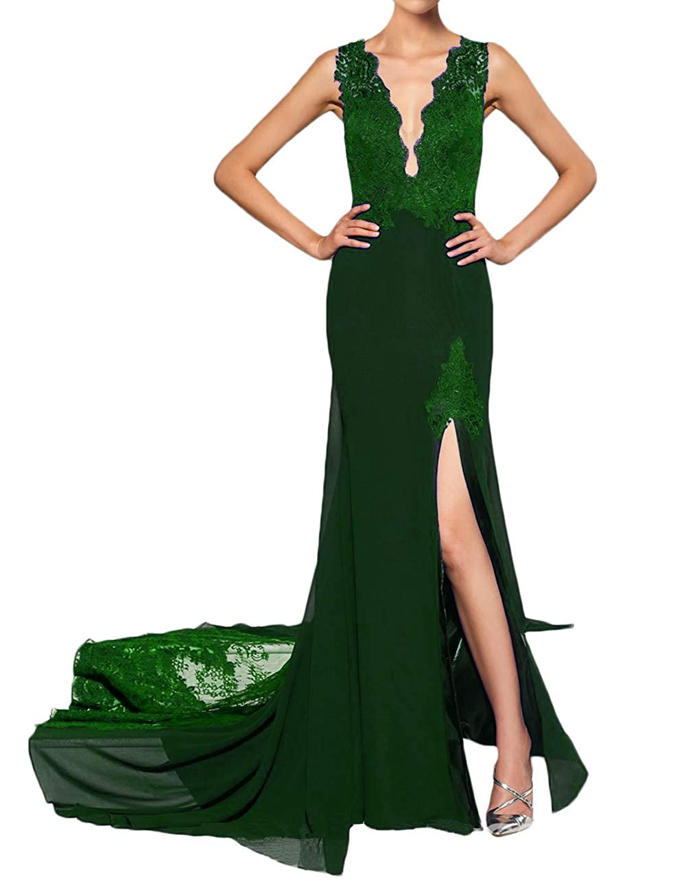 Dark Green alilith.Z Sexy Plunging V Neck Prom Dresses 2019 Mermaid Appliques Lace Long Formal Evening Dresses for Women with Slit
