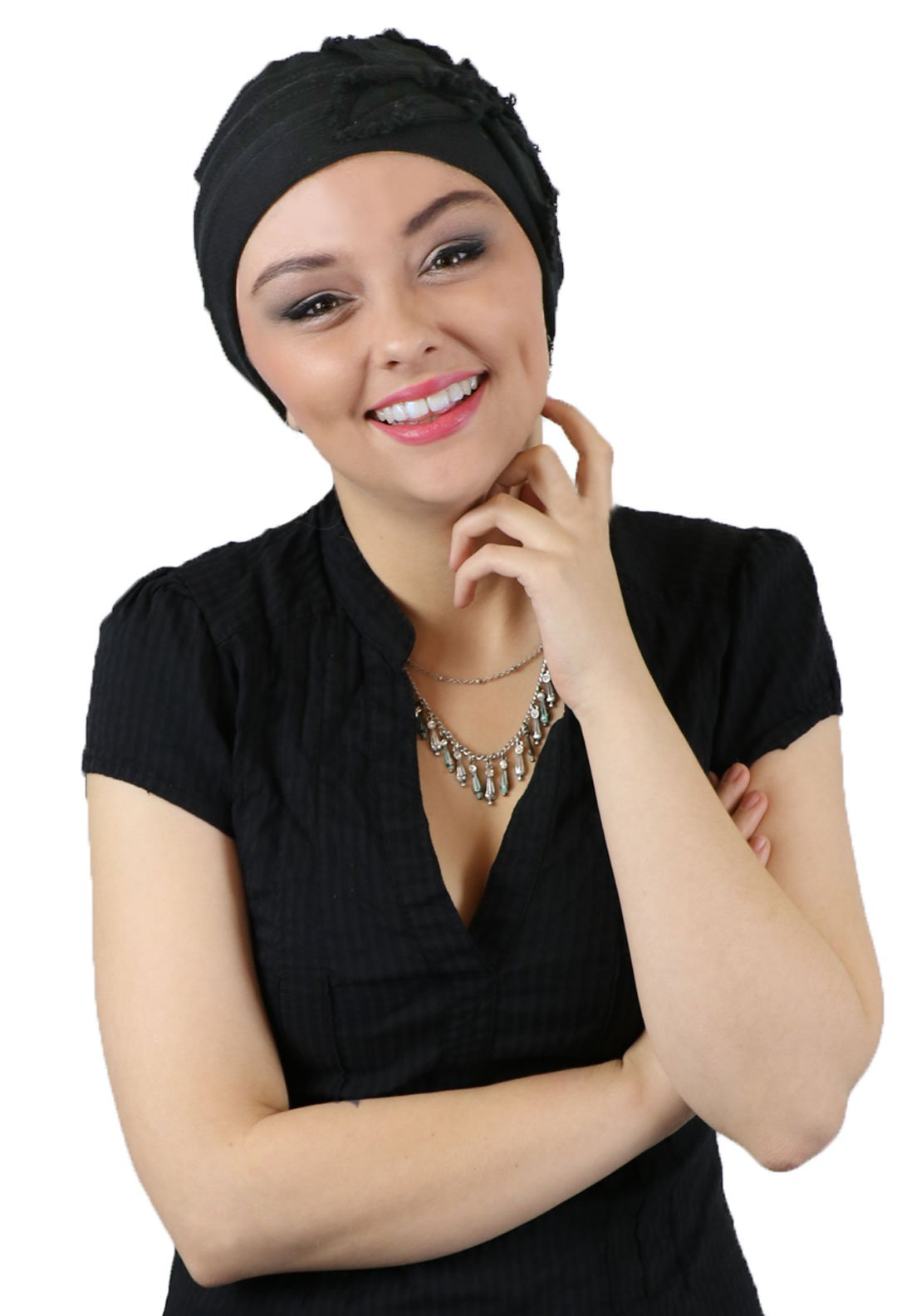 Hats For Cancer Patients Women Chemo Headwear Head Coverings Butterfly Beanie Parkhurst (BLACK) by Hats Scarves & More (Image #3)
