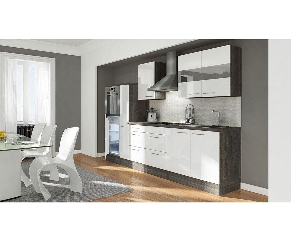respekta Küchenleerblock 300 cm Hochbau Eiche grau Nachbildung Weiß Hochglanz APL Eiche grau Nachbildung