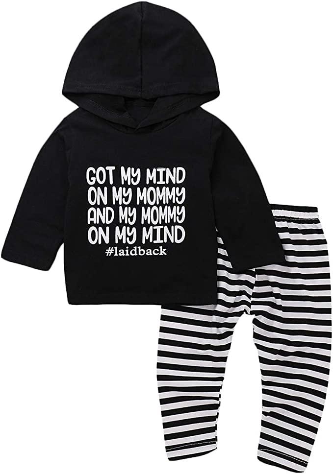 2pcs Infant Baby Boys Girls Stripe Hoodie Tops+Pants Suit Outfits Clothes Set