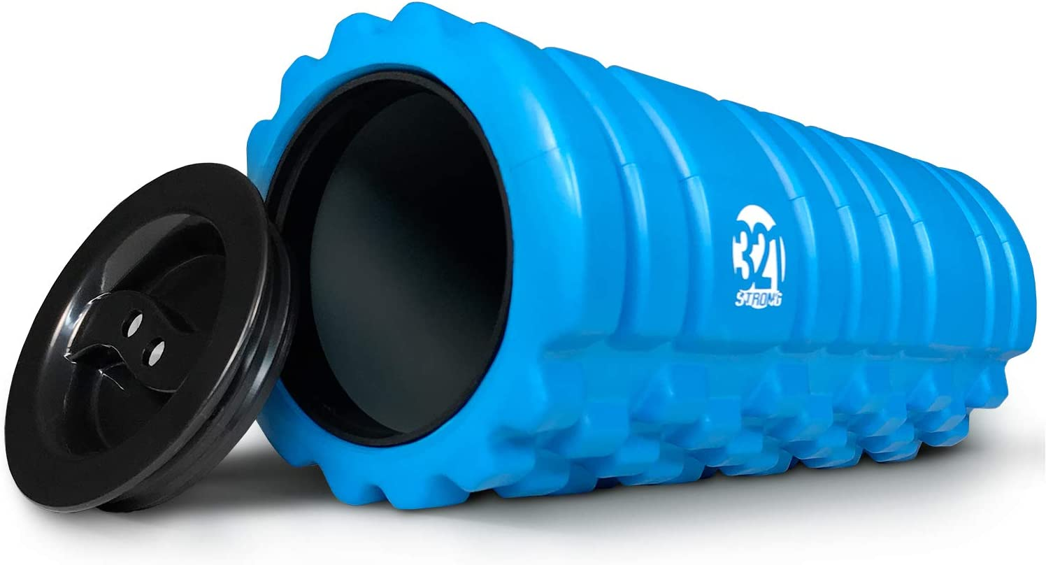 321 STRONG Foam Roller for Muscle Massage with End Caps – Store Keys, Towels, and Other Accessories – Black, Red, Blue, Pink
