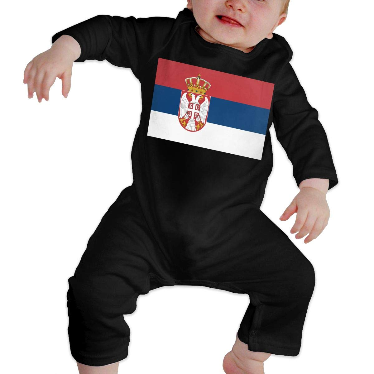 Cute Serbia Flag Playsuit U99oi-9 Long Sleeve Cotton Bodysuit for Unisex Baby